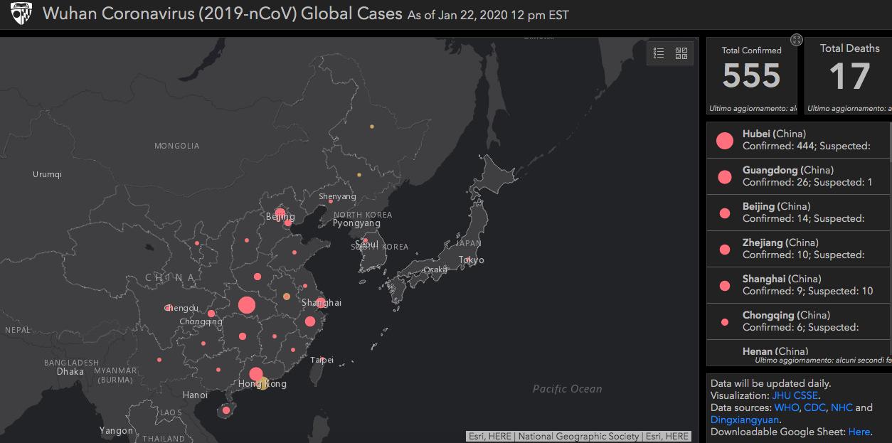 mappa mondocoronavirus
